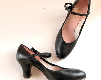 648cff3940a4 Darling vintage Capezio blck leather Mary Janes heel tap shoes size 5 5.5