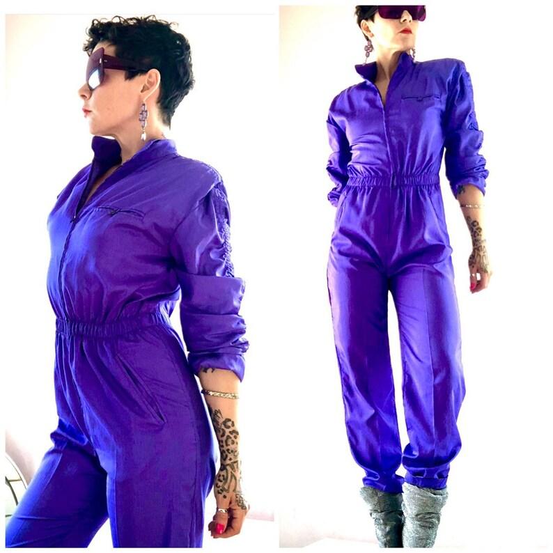 Epic vintage shimmery electric purple perfect fit jumpsuit