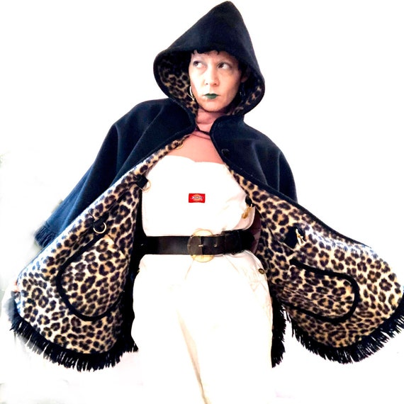 Vintage 60's leopard print faux fur reversible hoo