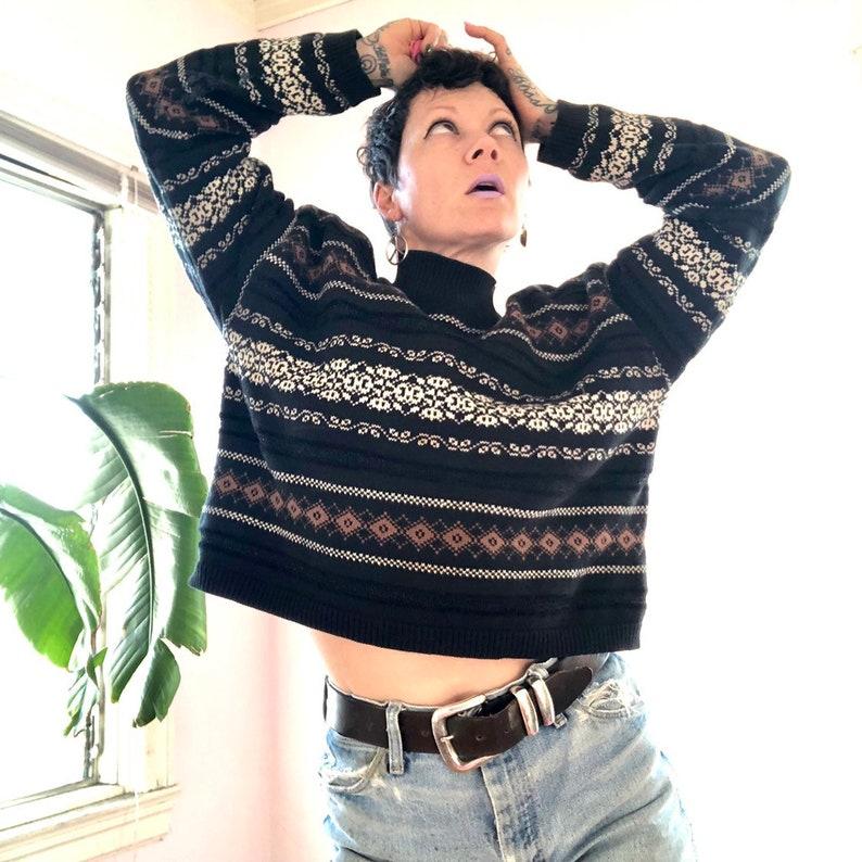 1f3d98772b299 Vintage 90 s cropped mock turtleneck cotton silk sweater