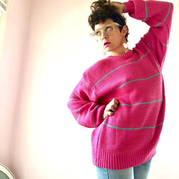 Rad vintage 80's oversized hot pink and turquoise sweater