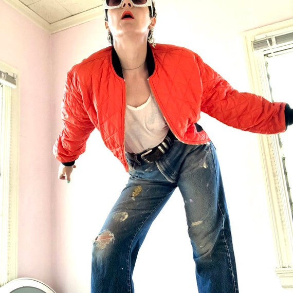 Fab Moschino Jeans saftey orange cropped nylon bo… - image 3