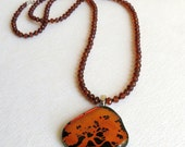 Hessonite Garnets Necklace, Dichroic Tree of Life Pendant, Black Spinel, and Sterling Silver, Smokeylady54
