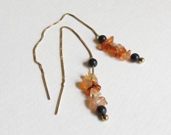 Carnelian and Onyx Earrings, 14 Karat Gold, Handmade Jewelry, Dangle Earrings, Ladies Accessory, Womens Jewelry, Gift Idea