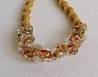 Jasper and Jade Necklace in Yellows with Glass Beads and Sterling Silver Clasp, Smokeylady54