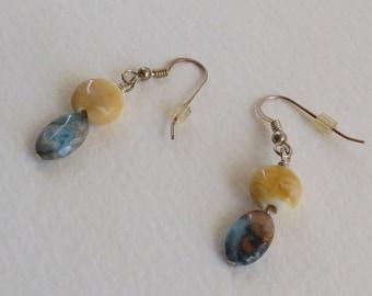 Sweet Handmade Earrings with Blue and Beige Jasper and Lampwork Beads, Sterling Silver Earwires, Ladies Accessories, Drop Earrings, Gift