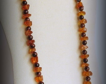 Dark Amber Chips Necklace with Red Tiger Eye Round Stones, Vibrant Jewelry, Semi Precious Stones, Ladies Accessory, Lovely Gift Idea.