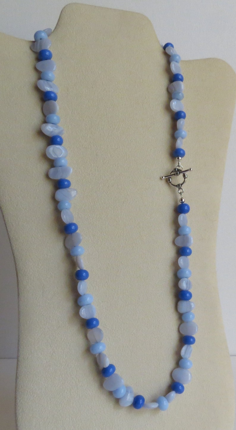 Semi Precious Stones Anniversary Blue Agate Necklace Birthday Wonderful Gift Idea Lovely in Blues Lampwork Beads and Sterling Silver