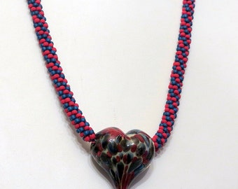 Kumihimo Necklace, Lampwork Hollow Heart, Red and Navy, Ladies Accessory, Hand Beaded, Handmade Unisex Jewelry, Fantastic Gift Idea