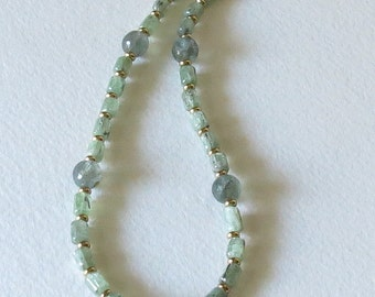 Handbeaded Aquamarine, March Birthstone Necklace with Apatite and  Gold Velmeil, Handmade Jewelry, Ladies Accessory, Special Gift Idea