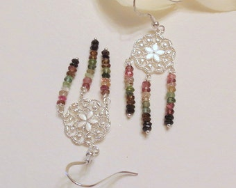 Dreamcatcher Chandelier Earrings with Watermelon Tourmaline The October Birthstone and Sterling Silver, Wedding Earrings, Ladies Accessories