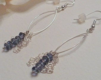 Long And Sexy Handmade Earrings,  Blue Topaz Rondells and Sterling Silver Ear Wires and Chain, Date Night, Wedding. Wonderful Gift Idea