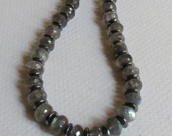 Labradorite Necklace Handmade Jewelry with Hematite and Sterling Silver Clasp, Semi Precious Stones, Stunning Colors, Beautiful Gift Idea
