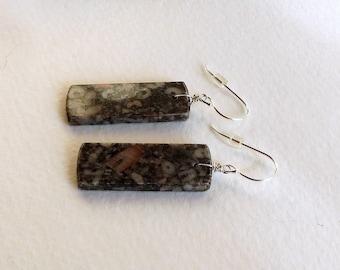 Rectangles of Jasper Simple Handmade Dangle Earring, Handmade Jewelry, Ladies Accessories