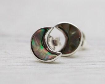 Abalone Moon Earrings - Abalone Jewelry - Moon stud Earrings - Silver Abalone Earrings - Moon Abalone Earrings - Crescent moon earrings
