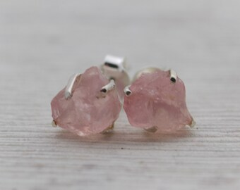 Raw Rose Quartz Stud Earrings - Raw Stud Earrings - Rose Quartz Earrings - Rough Stone Earrings - Gemstone Earrings - Rose Quartz Studs