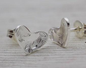 Silver Heart Studs - Heart Shaped Earrings - Silver Studs - Cute Hearts - Heart Stud Earrings - Heart Earrings - Small Heart Earrings