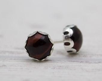 Tiger eye Earrings - Red tigers eye - Stud Earrings - Silver Post Earrings - Unique Stone Earrings - Men Stud Earrings