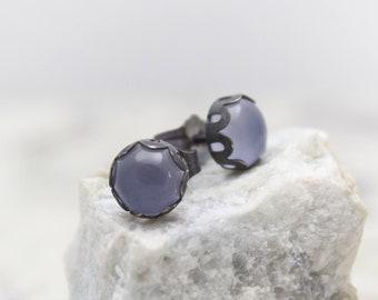 Blue Chalcedony Earrings - Stud Earrings - Gemstone Earrings - Oxidized Silver - Blue Earrings - Silver Studs - Chalcedony Earrings