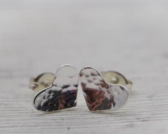 Silver Heart Stud Earrings - Silver Heart Jewelry - Heart Earrings - Petite Heart Earrings - Gift for Her - Small Heart Earrings