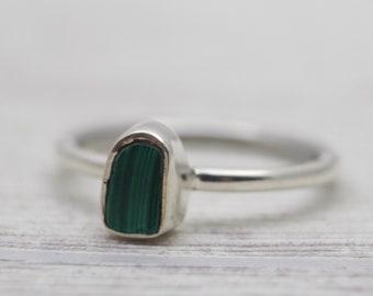 Sterling Silver Malachite Ring - Gemstone Ring - Green Stone Ring - Raw Stone Ring - Malachite Ring