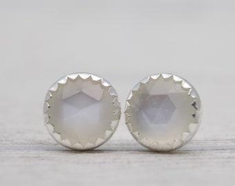 White Moonstone Stud Earrings - Moonstone Stud Earrings - Silver Post Earrings - White Gemstone Earrings - White Earrings - Stone Earrings