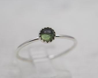 Green Tourmaline Ring - Delicate Ring - Stacker Ring - Green Stone Ring - Stackable Ring - Silver Ring - Tourmaline Ring