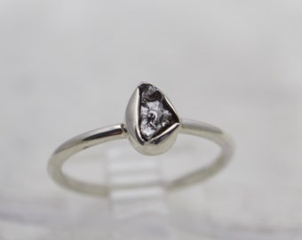 Sterling Silver Meteor Ring - Gemstone Ring - Meteorite Stone Ring - Raw Stone Ring - Sterling Silver Ring - Unique Stone Ring