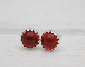 Carnelian Stud Earrings - Gemstone Earrings - Red Earrings - Post Earrings - Carnelian Earrings - Silver Stud Earrings