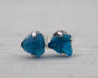 Raw Neon Blue Apatite Stud Earrings - Blue Stone Earrings - Prong Set Earrings - Rough Stone Earrings - Blue Stud Earrings