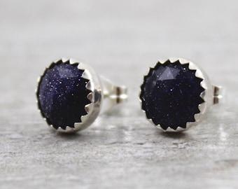 Blue Goldstone Earrings - Goldstone Earrings - Gemstone Stud Earrings - Stud Earrings - Stone Earrings - Gift For Her - Silver Post Earrings