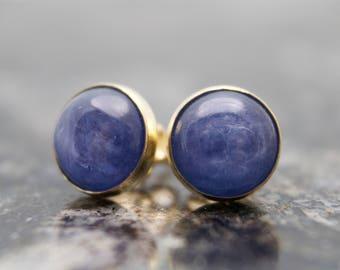 Kyanite Stud Earrings - Gold Filled Stud Earrings - Gold Kyanite Earrings - Blue Earrings - Navy Blue Earrings - Gold Filled Earrings