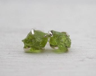 Raw Peridot Stud Earrings - Prong Peridot Earrings - August Birthstone Earrings - Peridot Jewelry - Birthstone Jewelry