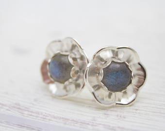Labradorite Earrings - Stud Earrings - Flower Earrings - Blossom Earrings - Floral Earrings - Labradorite Gemstone - Silver Earrings
