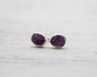 Raw Amethyst Stud Earrings - Sterling Silver Amethyst Earrings - Gemstone Earrings - Purple Earrings - Silver Stud Earrings - Birthstone