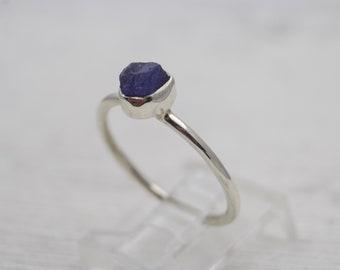 Sterling Silver Tanzanite Ring - Gemstone Ring - Stone Ring - Raw Stone Ring - Birthstone Ring - Tanzanite Jewelry