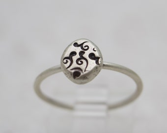Hand Stamped Swirl Ring - Silver Ring - Oxidized Silver Ring - Dainty Ring - Simple Ring - Stackable Ring - Size 7 Ring