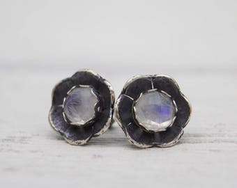 Moonstone Earrings - Flower Earrings - Stud Earrings - Gemstone Earrings - Blossom Earrings - Botanical Jewelry - Flower Studs