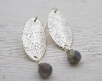 Labradorite drop earrings - Dangle Earrings - Sterling Silver Labradorite Earrings - Labradorite Jewelry - Briolette Earrings