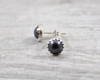 Hematite Earrings - Black Stone Earrings - Stud Earrings - Stone Earrings - Post Earrings - Round Earrings - Black Earrings - Gemstone