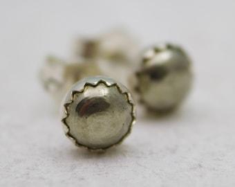 Sterling Silver Pyrite Earrings Studs - Fools Gold Jewelry - Pyrite Jewelry - Pyrite Studs - Post Earrings - Small Stud Earrings