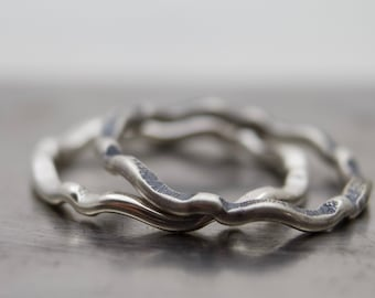 Sterling Silver Ring Band - Hammered Ring Band - Silver Ring - Stacker Ring - Stackable Ring - Simple Ring Band - Wave Ring - Oxidized Ring