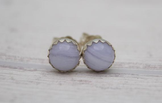 3a33285f1 Blue Lace Agate Earrings Agate Stud Earrings Blue lace   Etsy