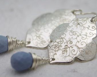 Moroccan Earrings - Sterling silver blue opal Earrings - Long Earrings - Owyhee Blue Opal - Statement Earrings