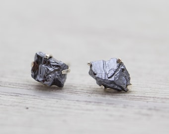 Silicon Earrings - Silicon Jewelry - Raw Silicon Earrings - Prong Earrings - Silver Stud Earrings
