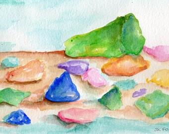 Original sea glass watercolor painting, 5 x 7  painting of beach glass in watercolors,  beach decor