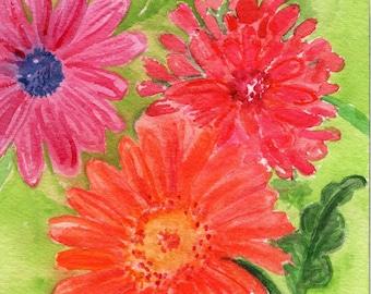 Gerbera Daisies Original Watercolor Painting 5 x 7 Flower Painting, Small Floral Wall Art - Gerber daisy watercolors paintings original