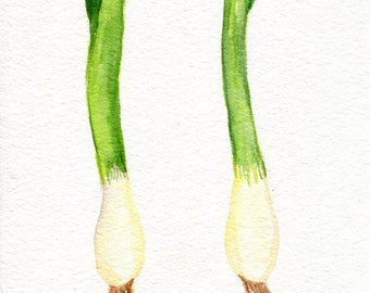 Green Onions watercolor painting original.  kitchen decor, onions Farmhouse decor watercolor painting, small vegetable wall art 5 x 7