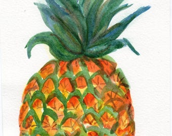 Pineapple Original Watercolor Painting 5 x 7 watercolor tropical fruit
