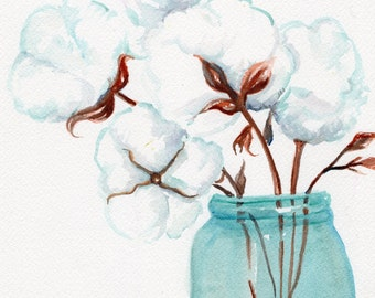 Rustic original watercolor painting Cotton Bolls blue Mason canning jar art  8 x 10 cotton painting, cotton art,  Farmhouse Decor